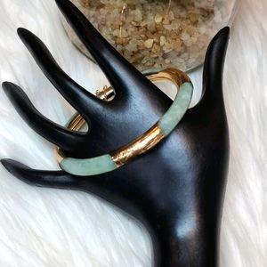 GORGEOUS JADE AND GOLD BANGLE BRACELET
